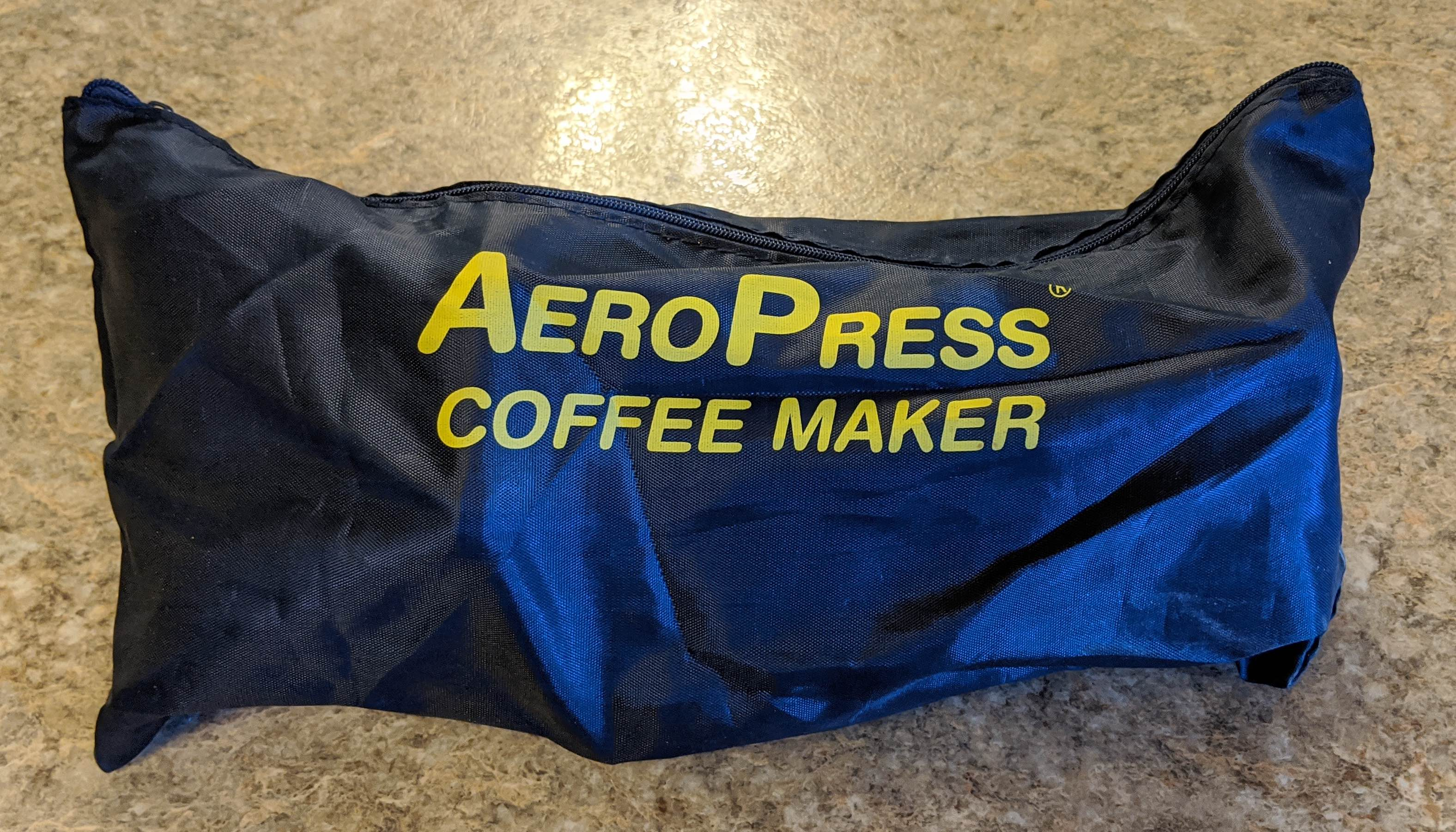 Aeropress components in the tote bag.