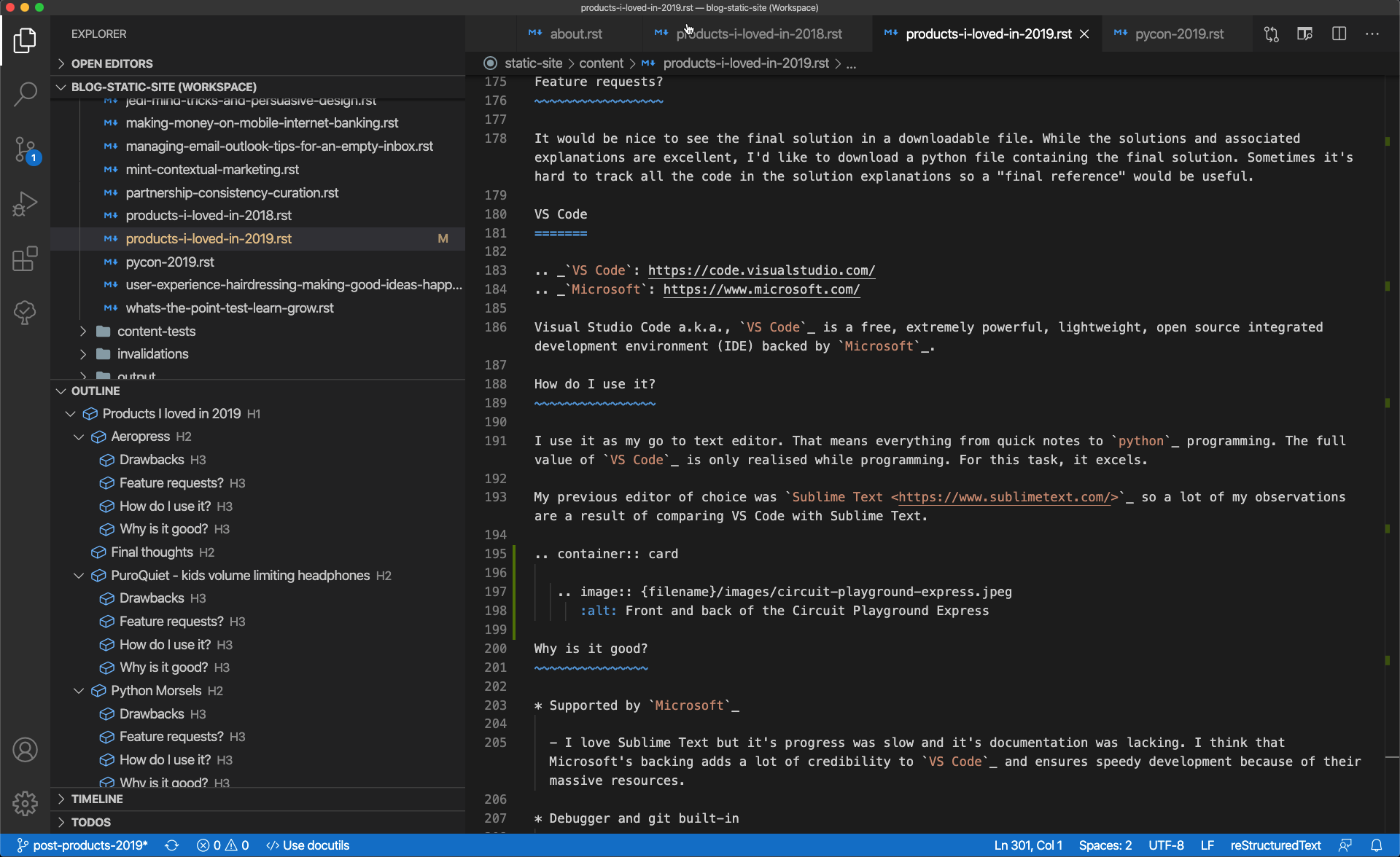 Screenshot of VS Code. The screen shows numerous panels used to create and edit this blog post.